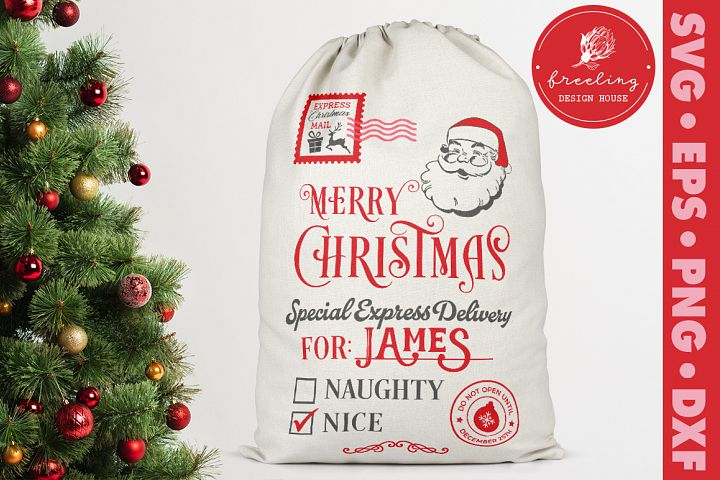 Santa sack design SVG, Santa bag SVG, DXF EPS PNG