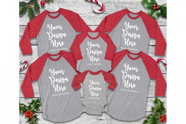 Matching Family Christmas Red Raglan Mockup, Baby Bodysuit