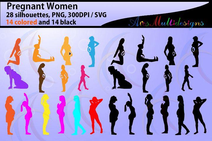 Pregnant Women silhouette svg / Pregnant Women / printable Pregnant Women silhouettes / fetus / Cricut / pregnant svg files SVG PNG