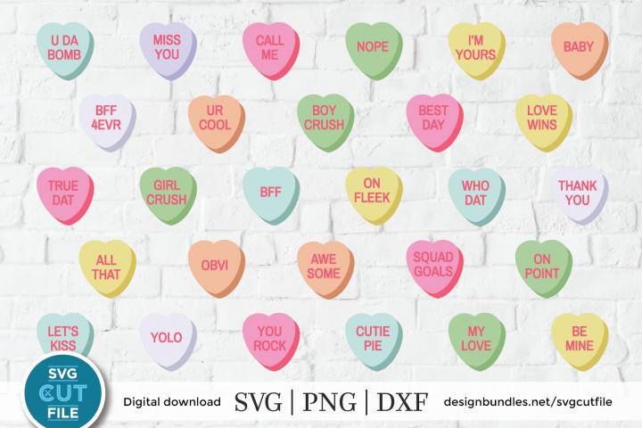 Conversation Hearts SVG, Valentines Day svg, vday svg dxf