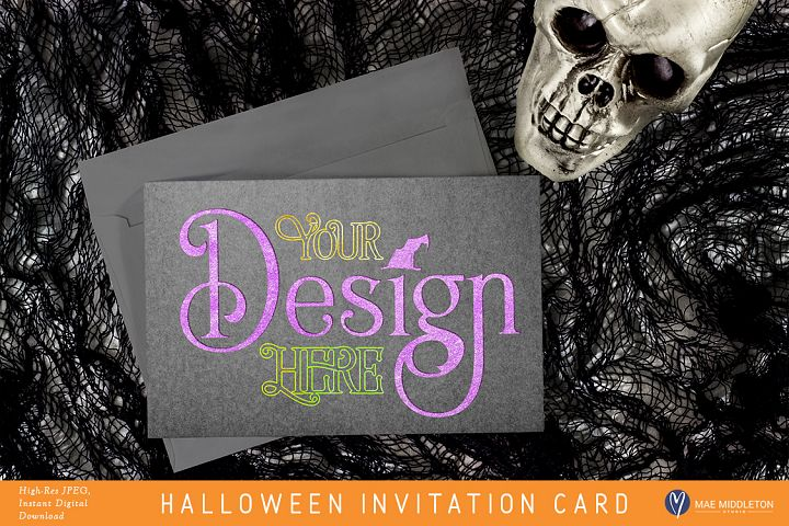 Halloween Invitation Card - styled photo, mock up