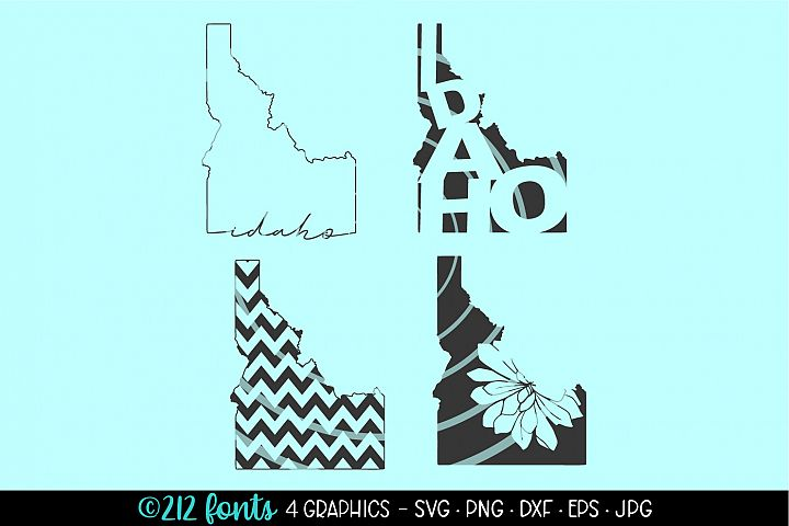 4 - Idaho State Map Graphics Cut File DXF PNG JPG SVG EPS
