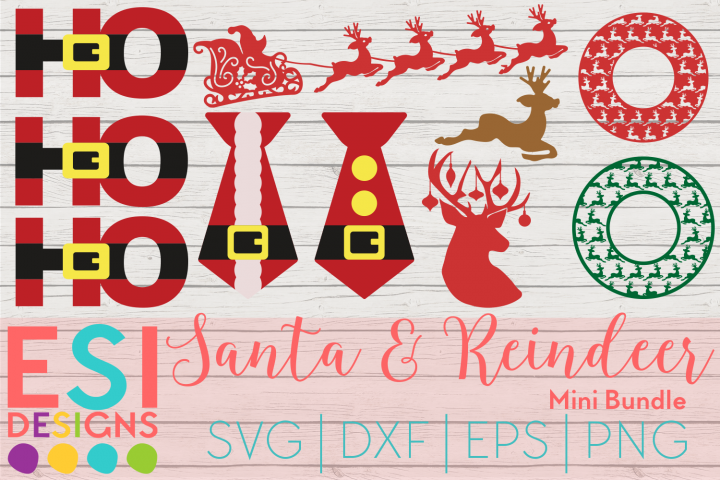 Christmas SVG|Santa Reindeer Mini Bundle | SVG DXF EPS PNG