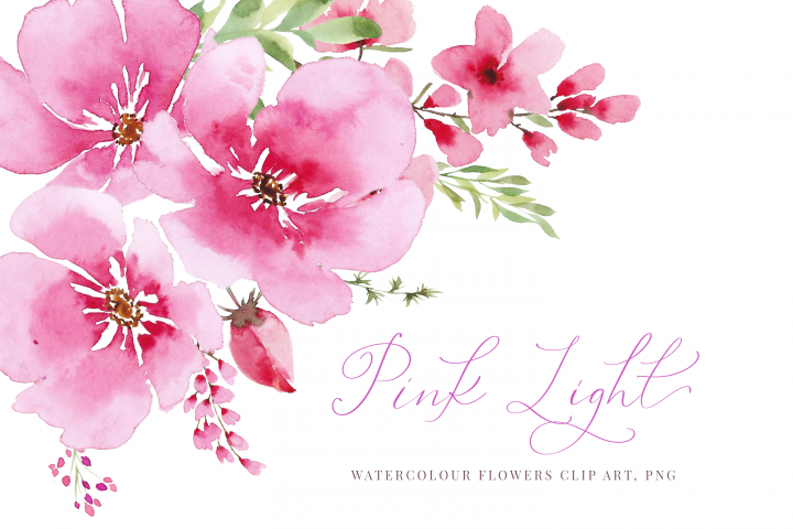 Watercolour pink flowers and greenery, Wedding clipart