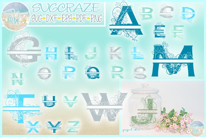Plumeria Scrollwork Split Frame Alphabet Bundle SVG