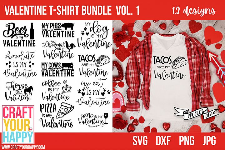 Valentine T-shirt Bundle Vol. 1 - Valentine SVG Cut Files