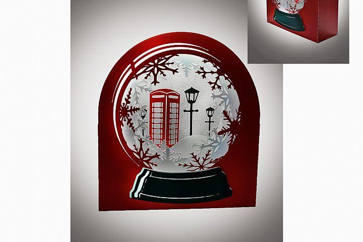 3D Snow Globe Classic Red Telephone Box greetings card
