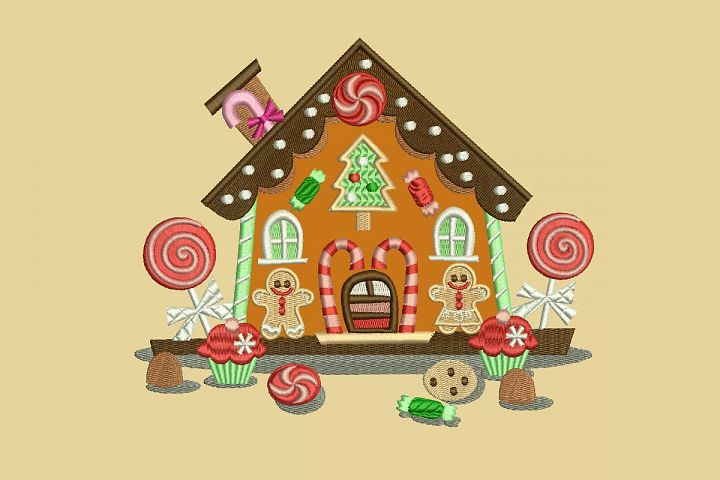 Gingerbread House Applique Embroidery Design, 2 Sizes