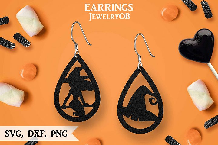 Halloween Earrings, Cut File, SVG DXF PNG Formats, Witch Hat