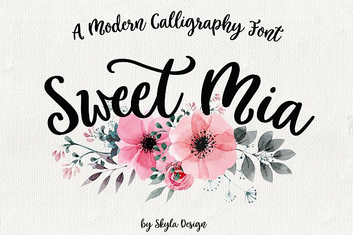 Modern calligraphy font, Sweet Mia