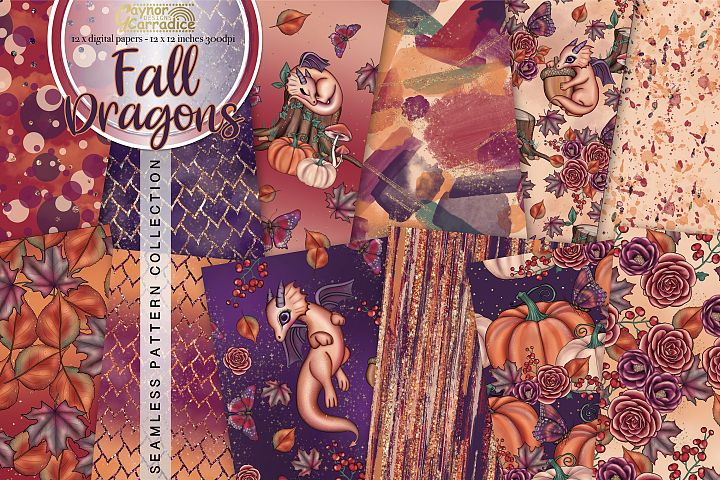 Fall dragons - Autumn seamless pattern collection