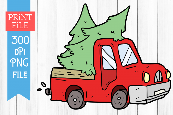 Red Truck Christmas Sublimation PNG Printable File