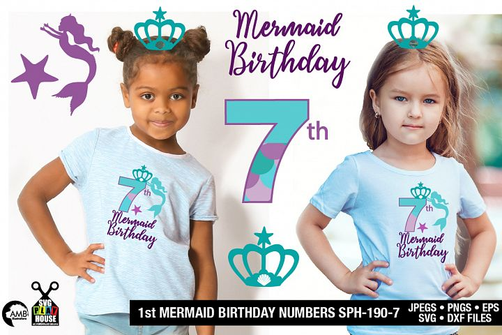 Mermaid Birthday Numbers 7th birthday svg, SPH-190-7