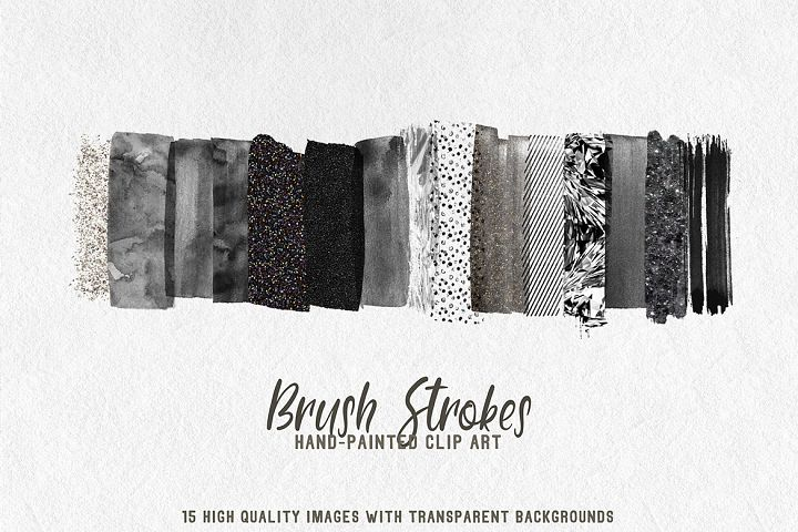 15 brush strokes clipart black