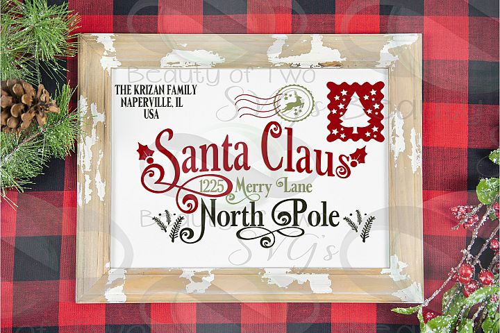 Santa Letter svg sign design Last Name customize sign svg