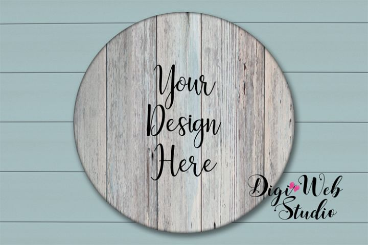 Wood Sign Mockup - Round Wood Sign on Coastal Blue Shiplap