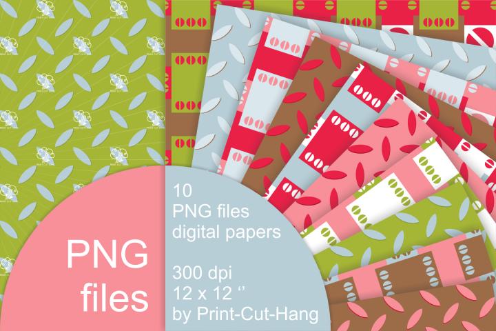 Digital scrapbooking papers - metal surface patterns - PNG