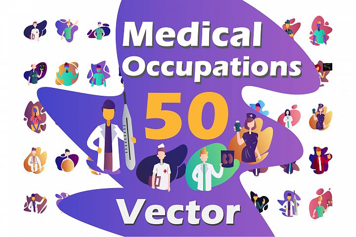50X Medical Occupations Illustrations.