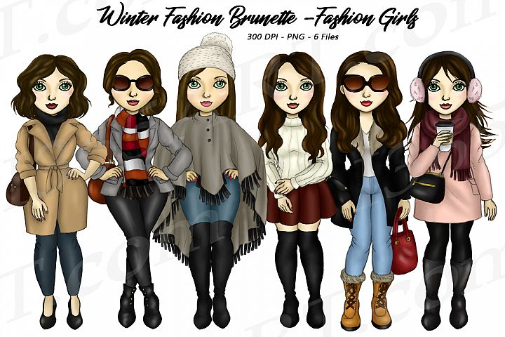Winter Fashion Girls Brunette Hair Planner Clipart