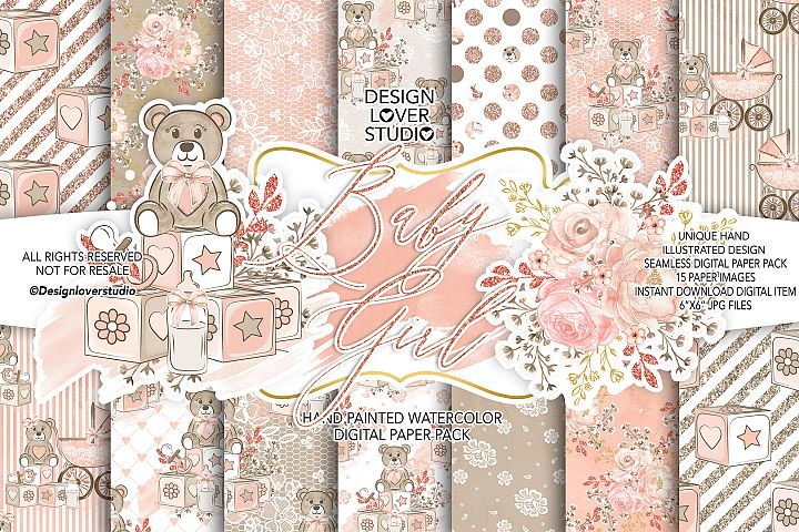 Baby Girl digital paper pack 2