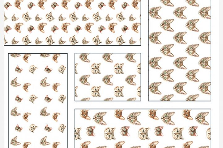 Cat watercolor patterns  - Free Design of The Week Design 16