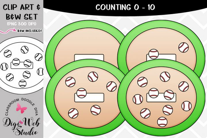Clip Art / Illustrations - 0-10 Counting Baseballs