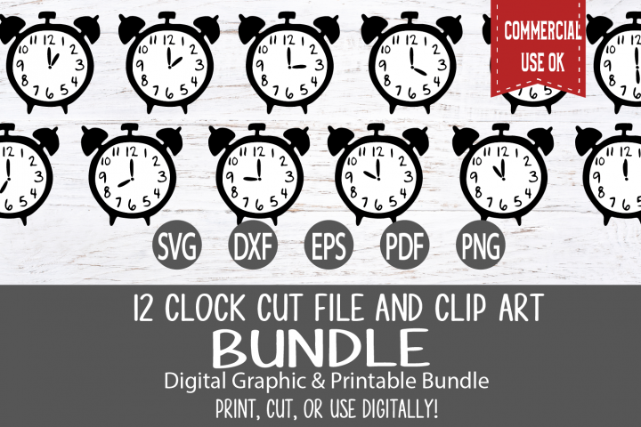 Clock Cut File and Clip Art Bundle - 12 hourly designs
