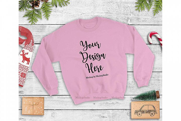 Light Pink Christmas Sweatshirt Mock Up, Winter Unisex