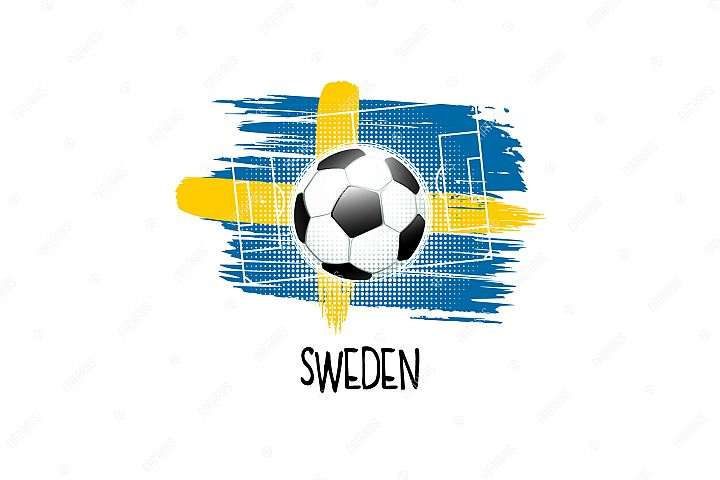 Football background with soccer ball. Team Sweden.