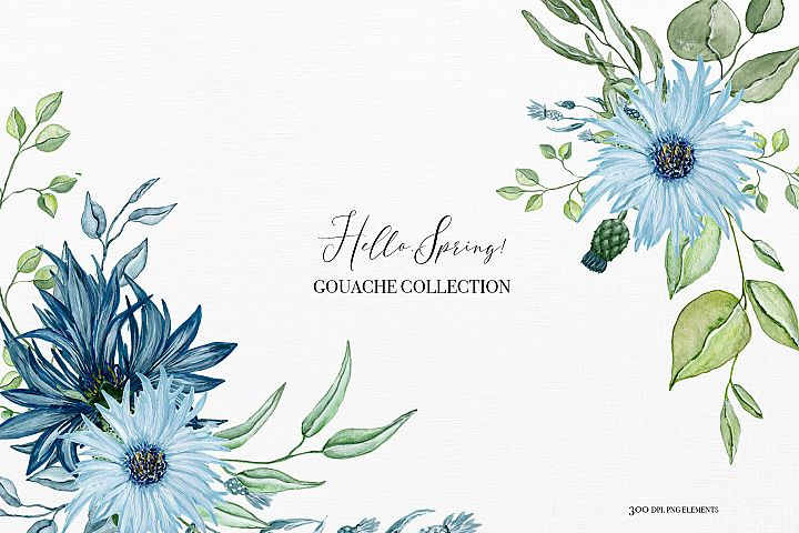 Hello spring - Gouache collection, spring bouquets clipart