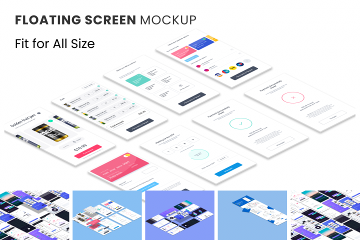 Floating Screen Mockup - Fit for all size