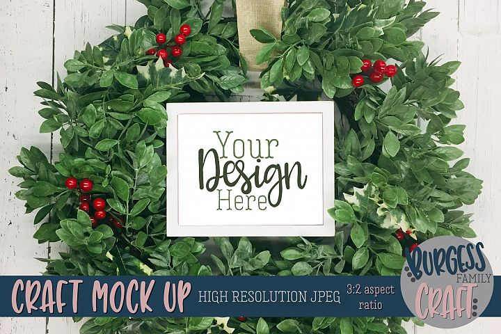 Winter frame wreath Craft mock up |High Res JPEG