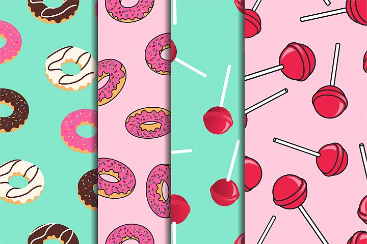 Seamless patterns with donuts and lollipops in pop art style