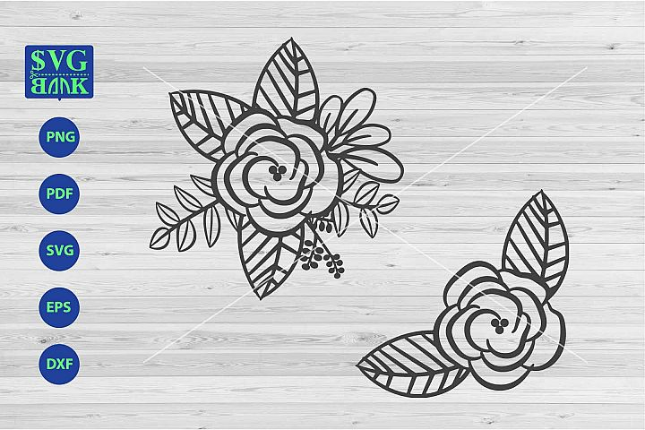 Bouquet Svg, flower corner svg, flower border cut file