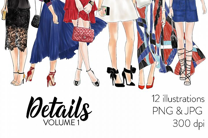 Watercolor fashion illustration clipart - Details Volume 1