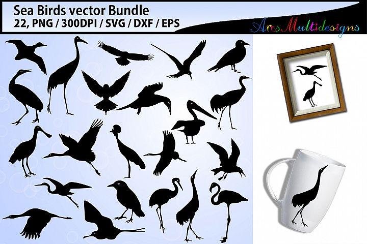 Sea birds svg silhouette bundle - Eps, Svg, Dxf, Png