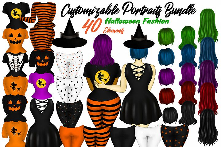 Custom Girls Clipart Customizable Halloween Fashion Builder