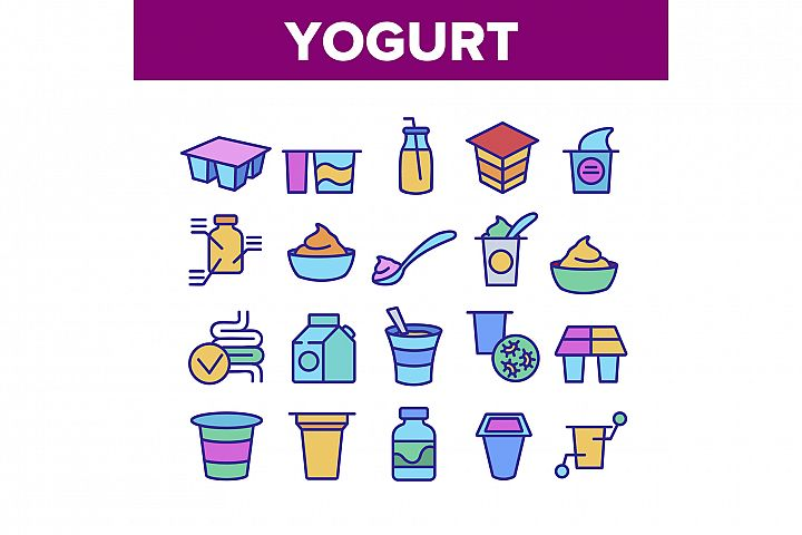 Yogurt Dairy Nutrition Collection Icons Set Vector