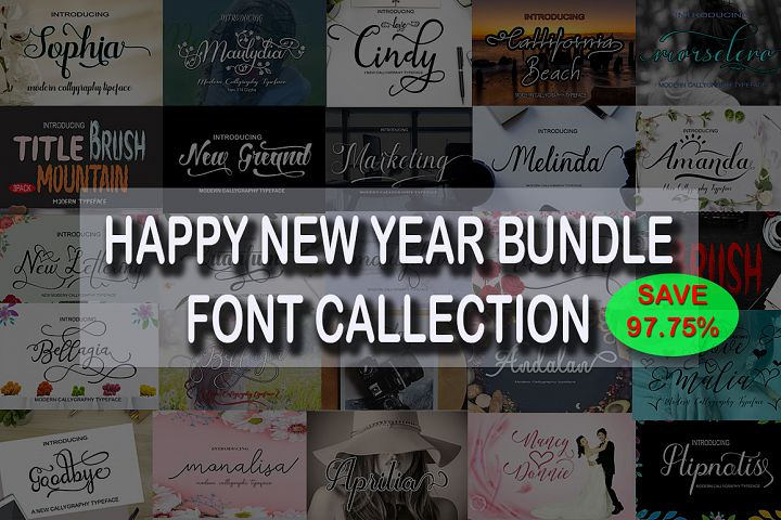 HAPPY NEW YEAR Font Bundle