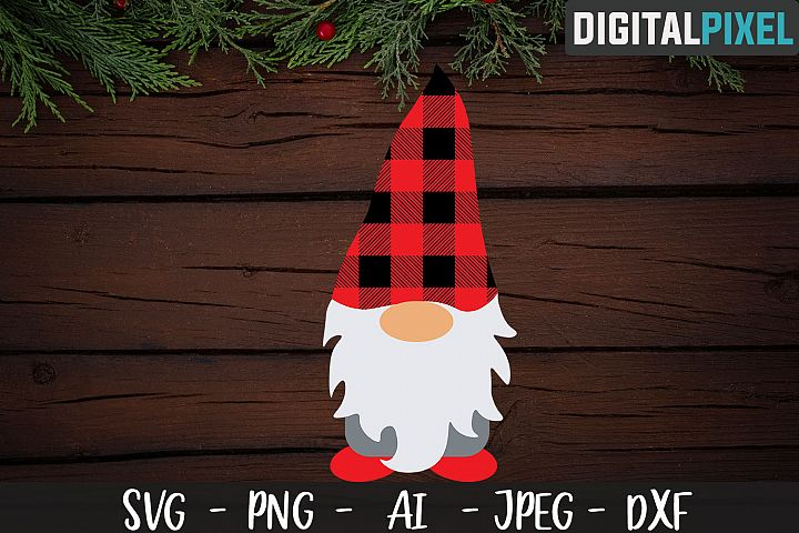 Gnome Buffalo Plaid SVG PNG DXF Circut Cut, Christmas SVG