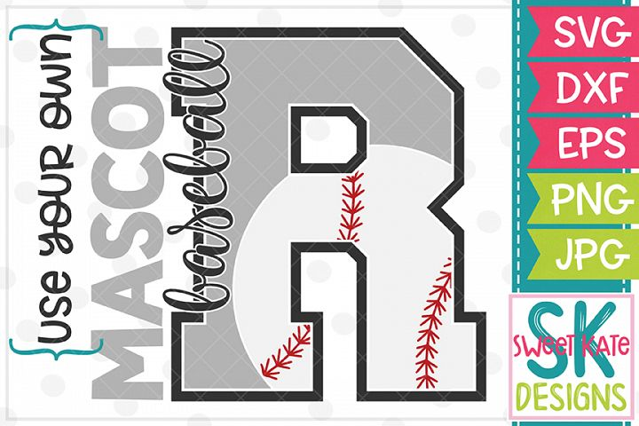 Your Own Mascot R Baseball SVG DXF EPS PNG JPG
