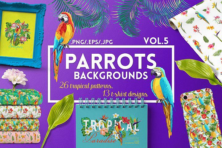 Parrots Tropical Patterns, T-shirts
