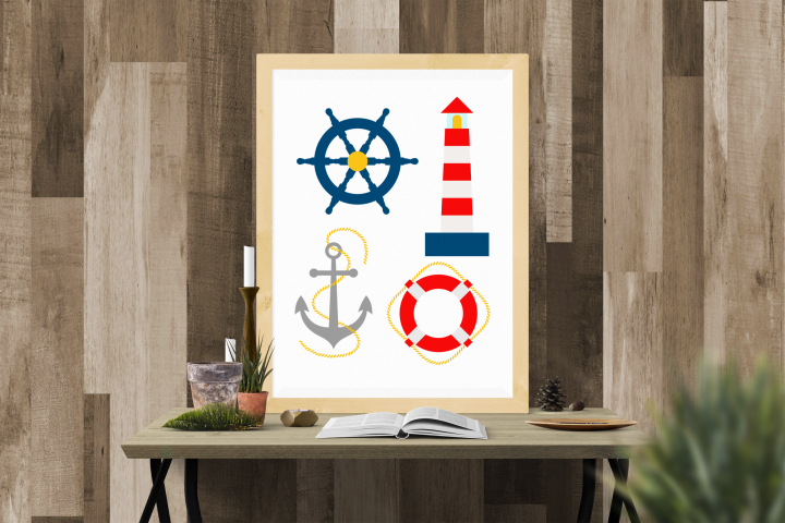 Nautical Lighthouse Life Preserver Ship Anchor SVG Set