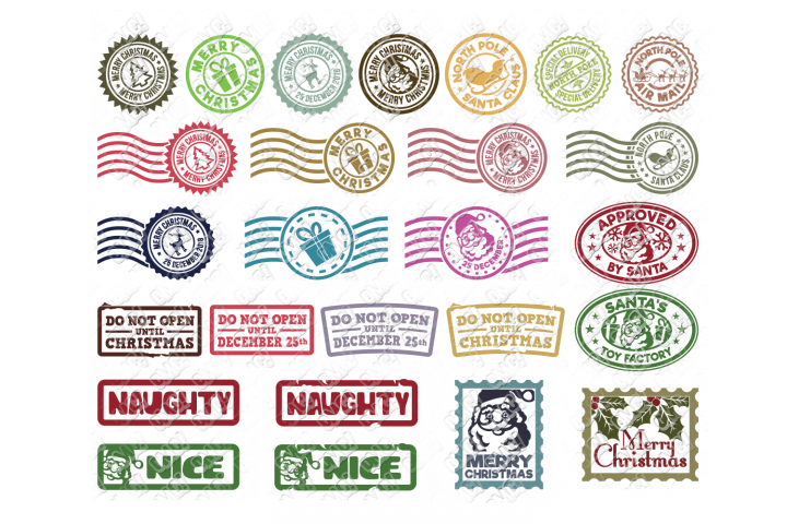Christmas Stamps SVG Postage Seal in SVG, DXF, PNG, EPS, JPG
