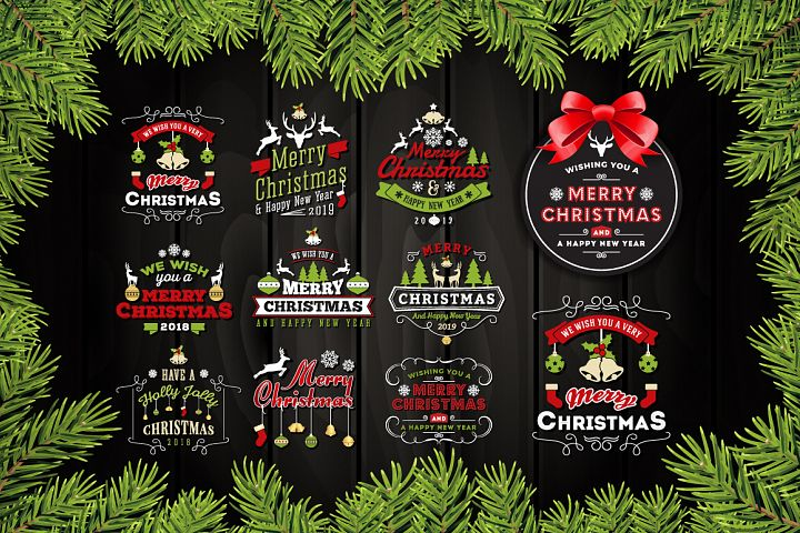 Set of Christmas and New Year Labels/Logo Badges