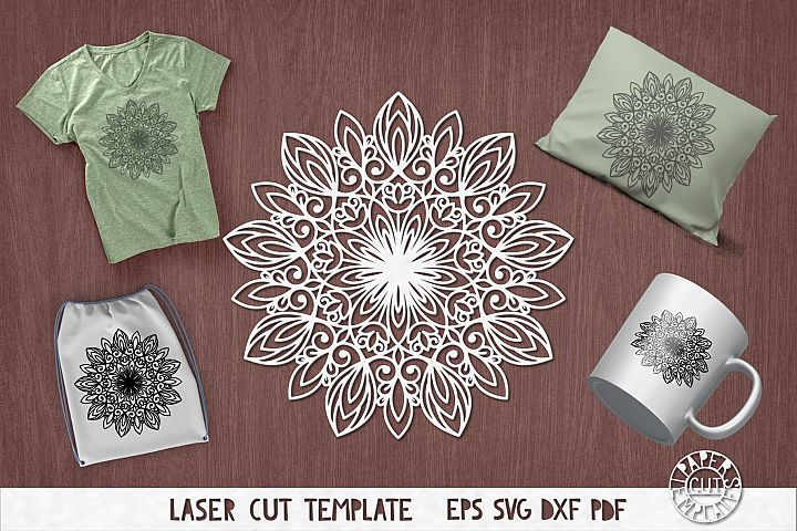 SVG Mandala template for laser, plotter, paper cutting.