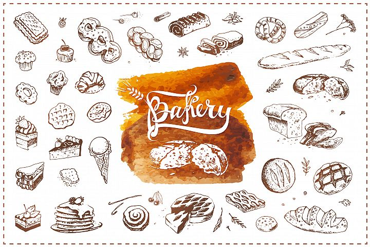 Bakery icons. Hand Draw Illustrations and Patterns