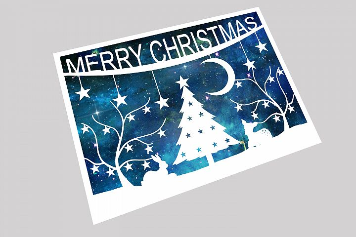 Merry Christmas Papercut Template