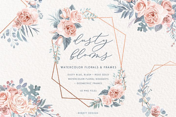 Dusty Blooms Watercolor Florals and Frames