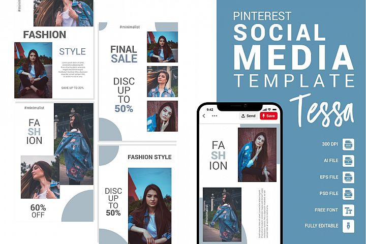 Tessa - Fashion Pinterest Templates